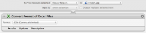 Screenshot of Convert Excel files to csv service in Automator